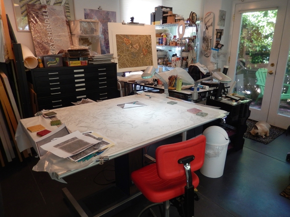 View of studio with in-progress Moon and Estrellas drawing on drawing table.
